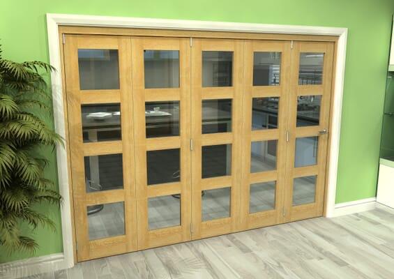 Glazed Oak 5 Door 4L Roomfold Grande 3000mm 5 + 0 Set