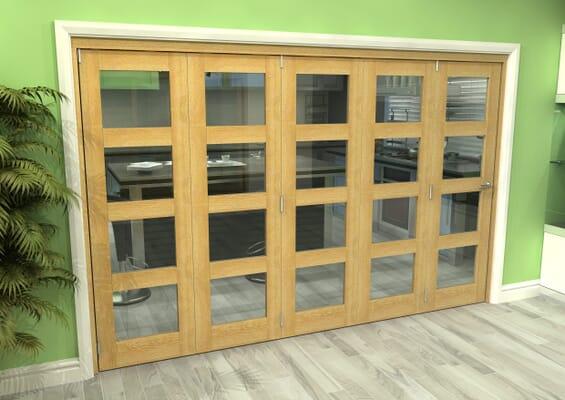 Glazed Oak 5 Door 4L Roomfold Grande (5 + 0 x 686mm Doors)