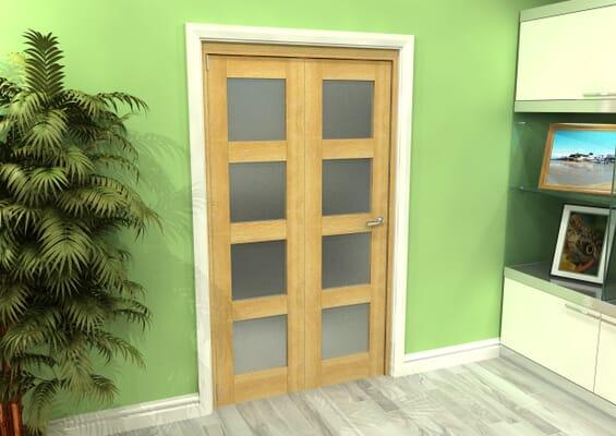 Frosted Glazed Oak 2 Door 4L Roomfold Grande (2 + 0 x 533mm Doors)