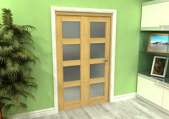 Frosted Glazed Oak 2 Door 4L Roomfold Grande (2 + 0 x 573mm Doors)