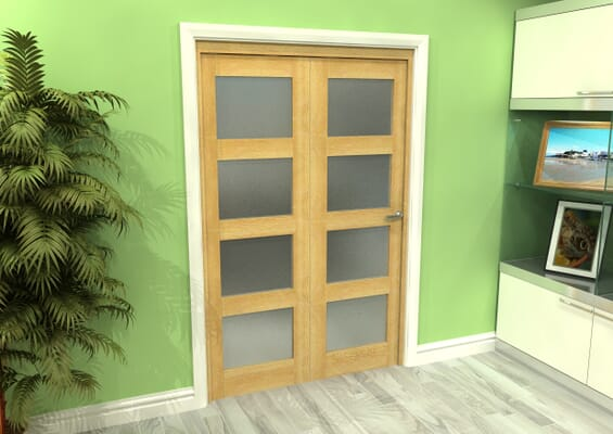 Frosted Glazed Oak 2 Door 4L Roomfold Grande (2 + 0 x 610mm Doors)