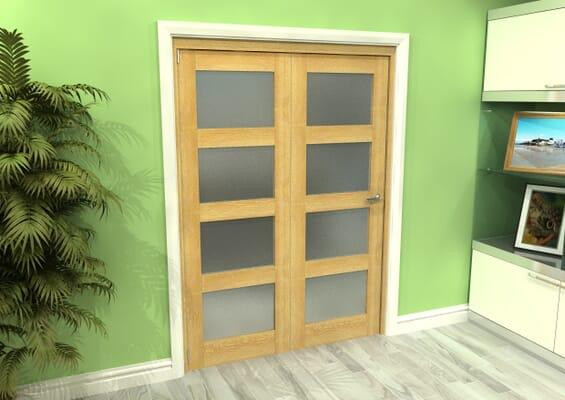 Frosted Glazed Oak 2 Door 4L Roomfold Grande (2 + 0 x 686mm Doors)