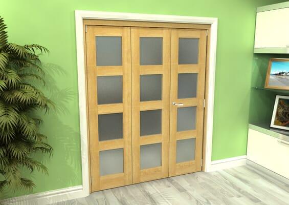 Frosted Glazed Oak 3 Door 4L Roomfold Grande (2 + 1 x 533mm Doors)