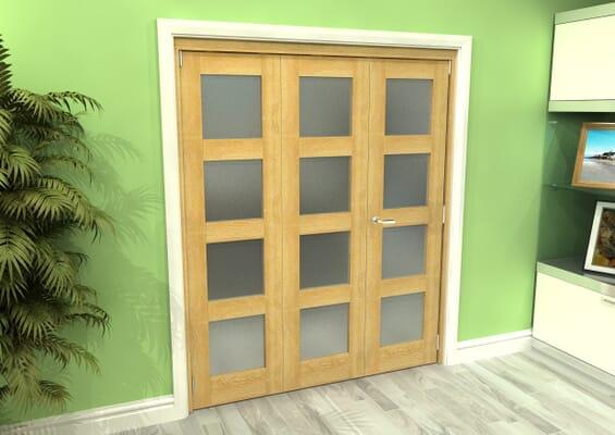 Frosted Glazed Oak 3 Door 4L Roomfold Grande 1800mm 2 + 1 Set