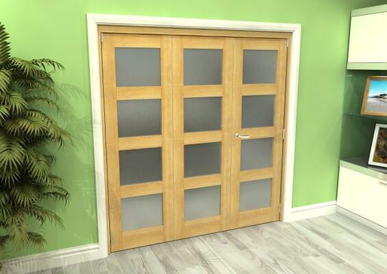 Frosted Glazed Oak 3 Door 4L Roomfold Grande (2 + 1 x 610mm Doors)