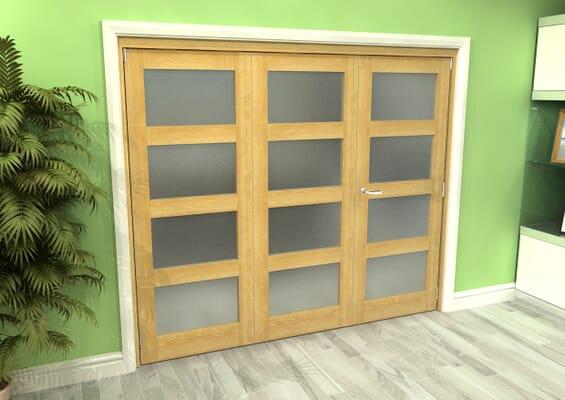 Frosted Glazed Oak 3 Door 4L Roomfold Grande (2 + 1 x 762mm Doors)