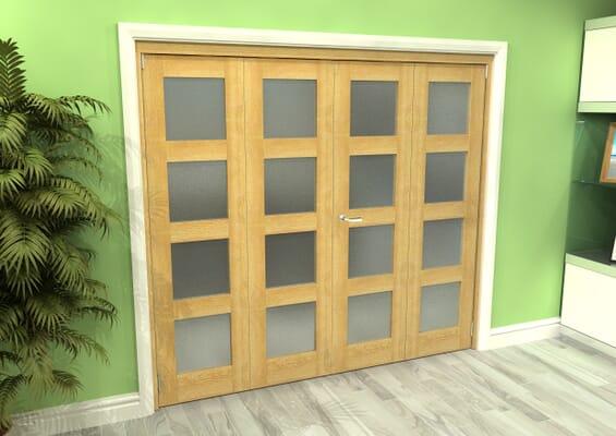 Frosted Glazed Oak 4 Door 4L Roomfold Grande 2400mm 2 + 2 Set