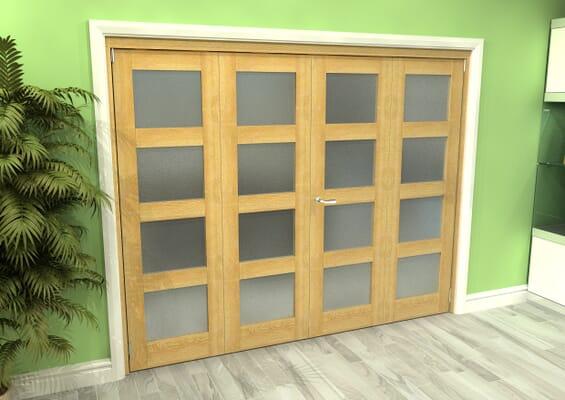 Frosted Glazed Oak 4 Door 4L Roomfold Grande (2 + 2 x 610mm Doors)