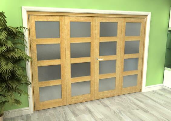Frosted Glazed Oak 4 Door 4L Roomfold Grande (2 + 2 x 762mm Doors)