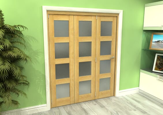 Frosted Glazed Oak 3 Door 4L Roomfold Grande (3 + 0 x 533mm Doors)