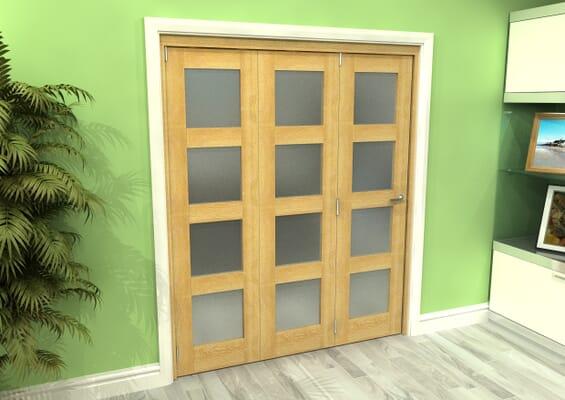 Frosted Glazed Oak 3 Door 4L Roomfold Grande 1800mm 3 + 0 Set