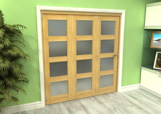 Frosted Glazed Oak 3 Door 4L Roomfold Grande (3 + 0 x 610mm Doors)