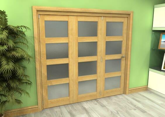 Frosted Glazed Oak 3 Door 4L Roomfold Grande (3 + 0 x 686mm Doors)
