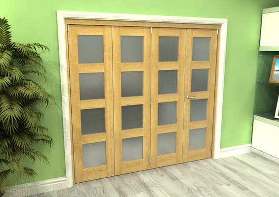 Frosted Glazed Oak 4 Door 4L Roomfold Grande (3 + 1 x 533mm Doors)