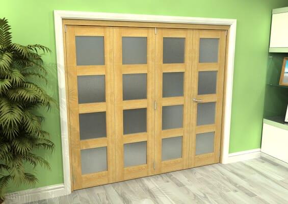 Frosted Glazed Oak 4 Door 4L Roomfold Grande 2400mm 3 + 1 Set