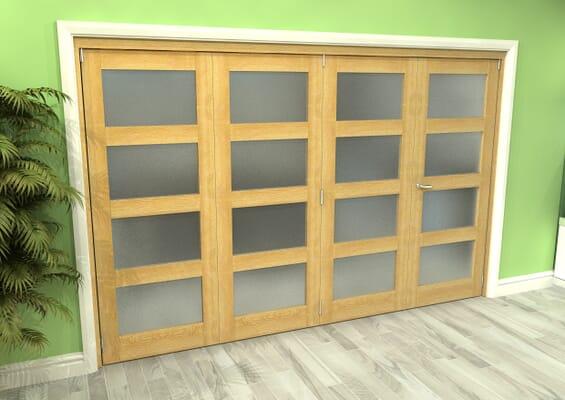 Frosted Glazed Oak 4 Door 4L Roomfold Grande (3 + 1 x 762mm Doors)