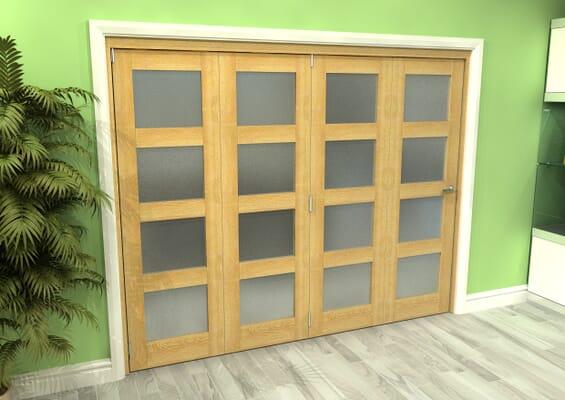 Frosted Glazed Oak 4 Door 4L Roomfold Grande (4 + 0 x 610mm Doors)