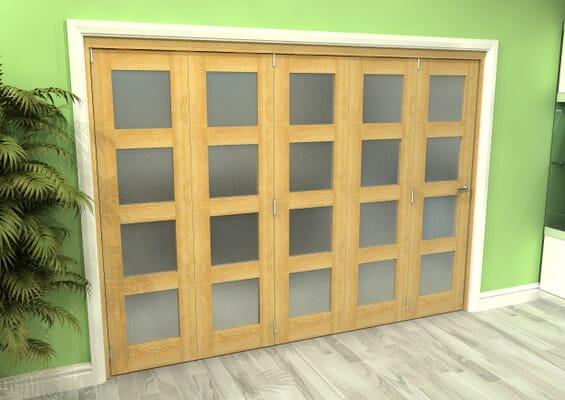 Frosted Glazed Oak 5 Door 4L Roomfold Grande 3000mm 5 + 0 Set