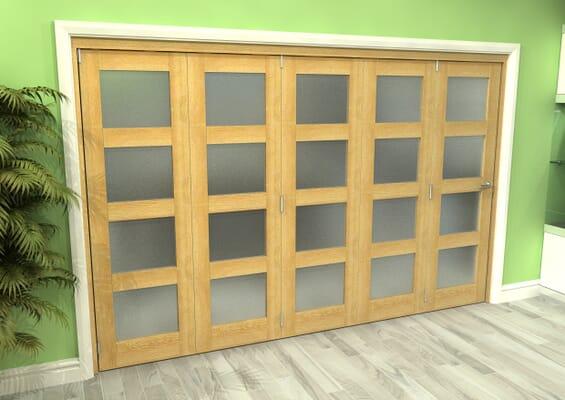 Frosted Glazed Oak 5 Door 4L Roomfold Grande (5 + 0 x 762mm Doors)