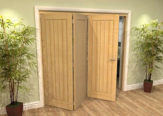 Mexicano Oak 3 Door Roomfold Grande (2 + 1 x 686mm Doors)