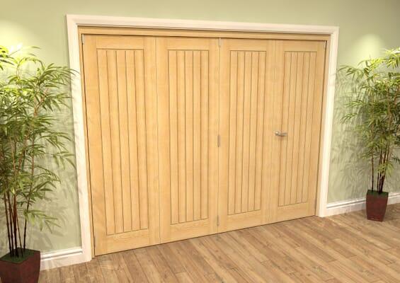 Mexicano Oak 4 Door Roomfold Grande (2 + 2 x 457mm Doors)