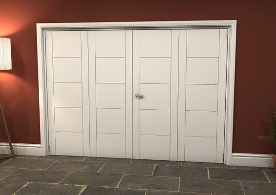 White Iseo 4 Door Roomfold Grande (2 + 2 x 686mm Doors)