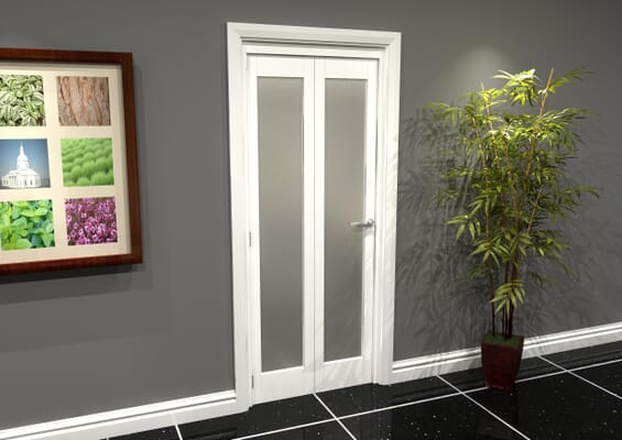 White P10 Frosted Roomfold Grande (2 + 0 x 381mm Doors)