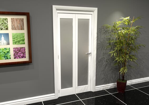 White P10 Frosted Roomfold Grande (2 + 0 x 419mm Doors)