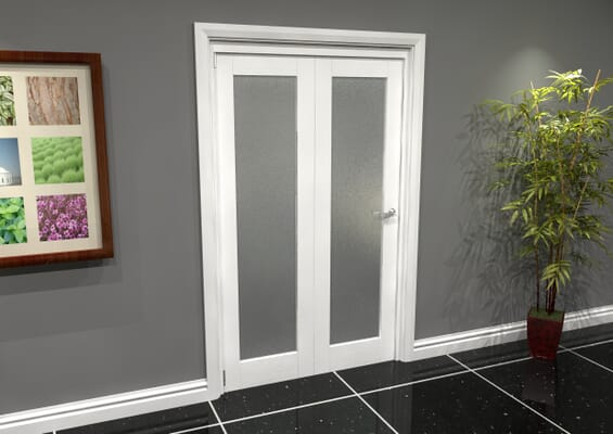 White P10 Frosted Roomfold Grande (2 + 0 x 573mm Doors)