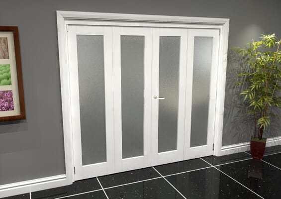 White P10 Frosted Roomfold Grande 2400mm 2 + 2 Set