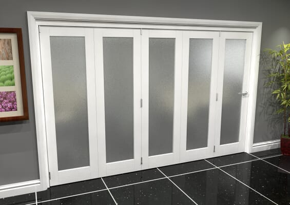 White P10 Frosted Roomfold Grande (5 + 0 x 762mm Doors)