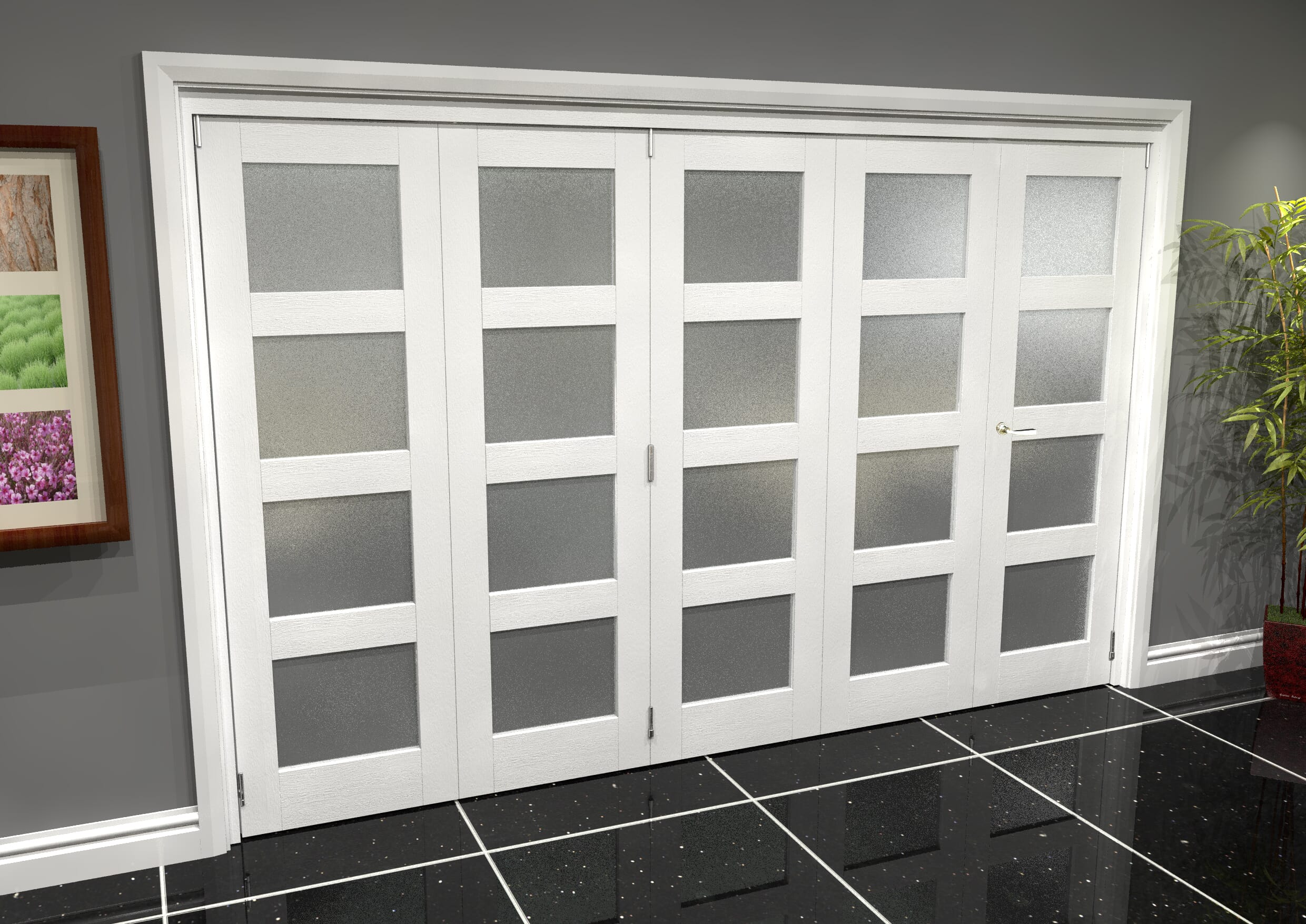 White 4l Roomfold Grande - Frosted Image