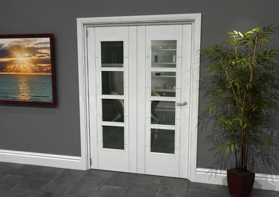 Iseo White 4 Light Clear 2 Door Roomfold Grande (2 + 0 x 686mm Doors)