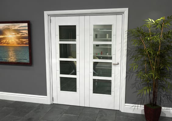Iseo White 4 Light Clear 2 Door Roomfold Grande (2 + 0 x 762mm Doors)