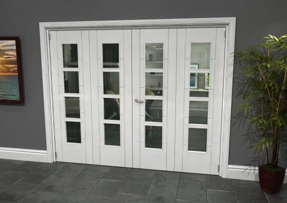 Iseo White 4 Light Clear 4 Door Roomfold Grande (2 + 2 x 610mm Doors)