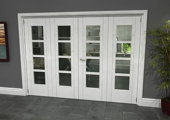 Iseo White 4 Light Clear 4 Door Roomfold Grande (2 + 2 x 686mm Doors)