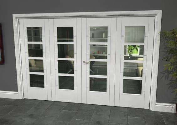 Iseo White 4 Light Clear 4 Door Roomfold Grande (2 + 2 x 762mm Doors)
