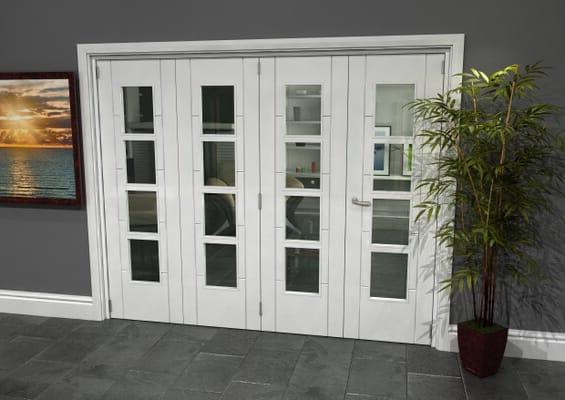 Iseo White 4 Light Clear 4 Door Roomfold Grande (3 + 1 x 610mm Doors)