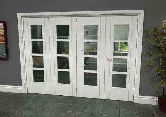 Iseo White 4 Light Clear 4 Door Roomfold Grande (3 + 1 x 686mm Doors)