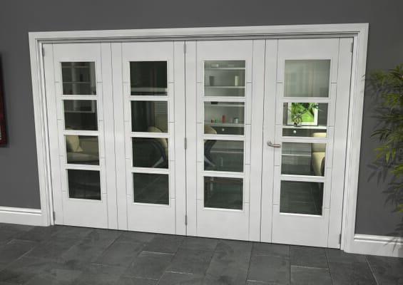 Iseo White 4 Light Clear 4 Door Roomfold Grande (3 + 1 x 762mm Doors)