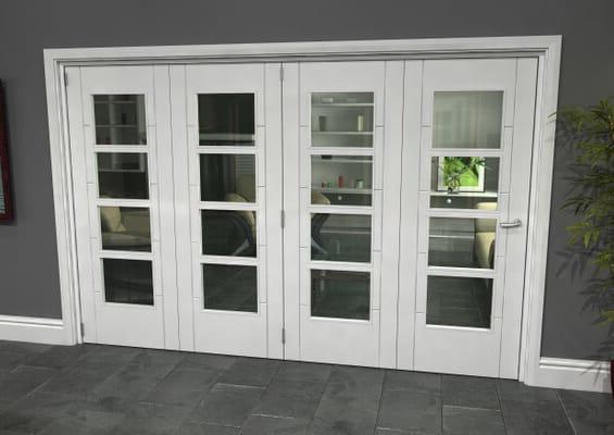 Iseo White 4 Light Clear 4 Door Roomfold Grande (4 + 0 x 762mm Doors)