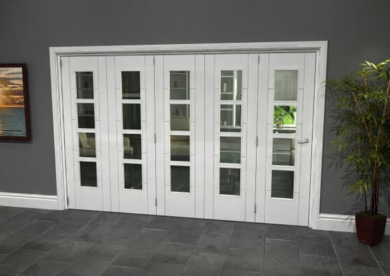 Iseo White 4 Light Clear 5 Door Roomfold Grande (5 + 0 x 610mm Doors)