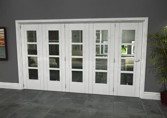 Iseo White 4 Light Clear 5 Door Roomfold Grande (5 + 0 x 686mm Doors)