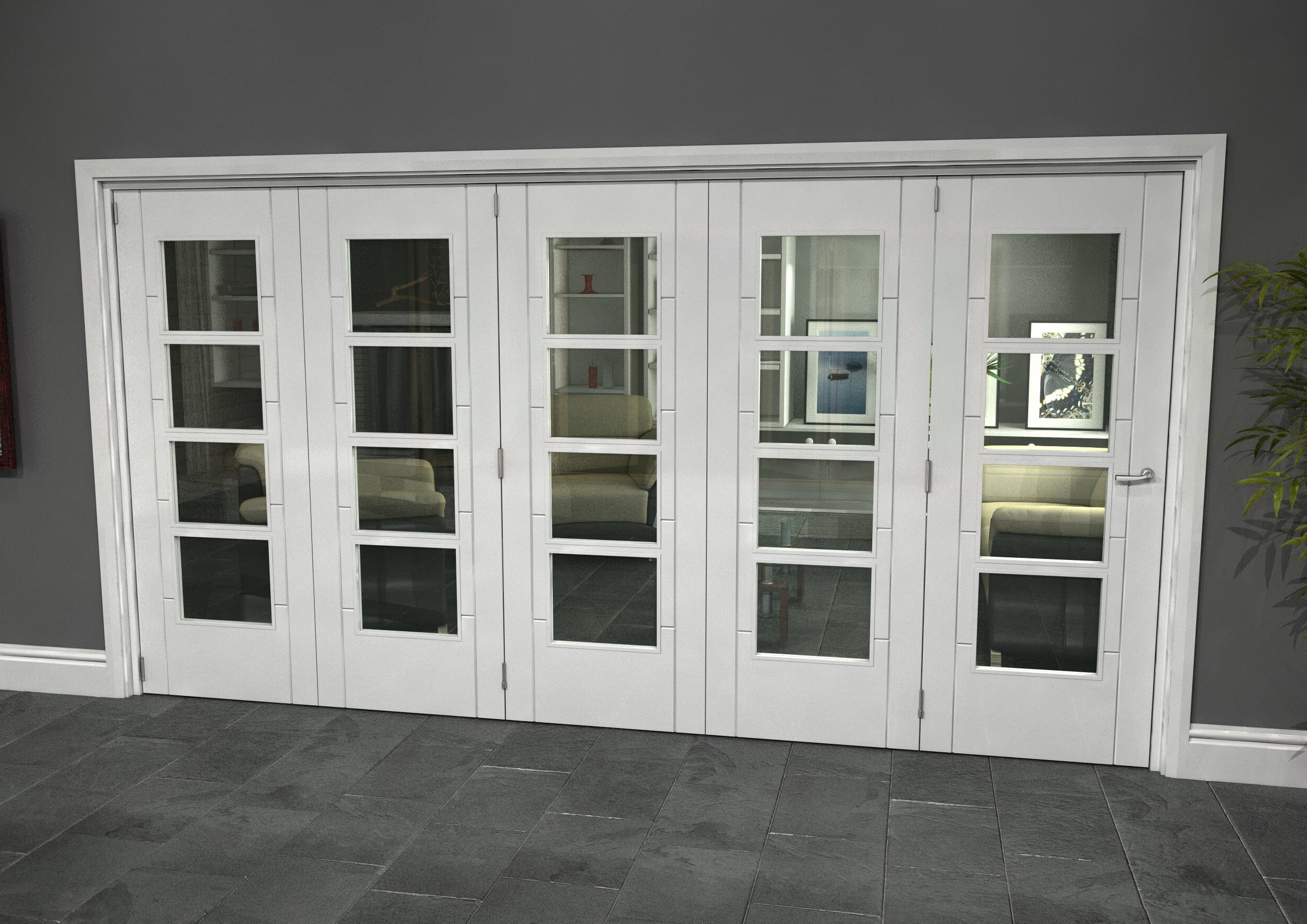 White Iseo Roomfold Grande - 4 Light Clear Image