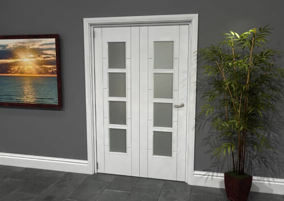 Iseo White 4 Light Frosted 2 Door Roomfold Grande (2 + 0 x 610mm Doors)