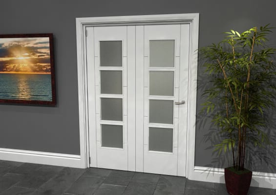 Iseo White 4 Light Frosted 2 Door Roomfold Grande (2 + 0 x 686mm Doors)