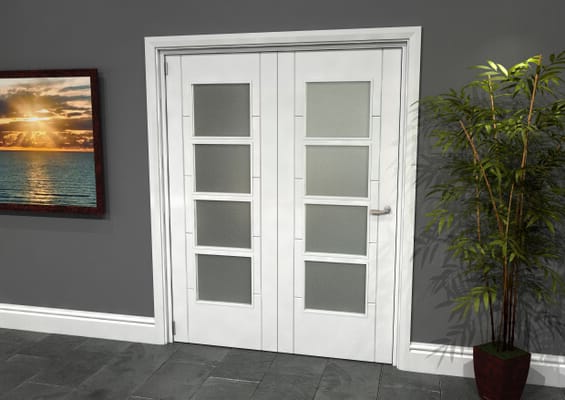 Iseo White 4 Light Frosted 2 Door Roomfold Grande (2 + 0 x 762mm Doors)