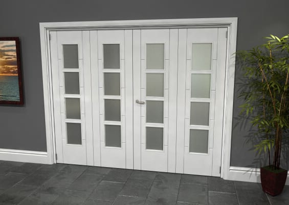 Iseo White 4 Light Frosted 4 Door Roomfold Grande (2 + 2 x 610mm Doors)