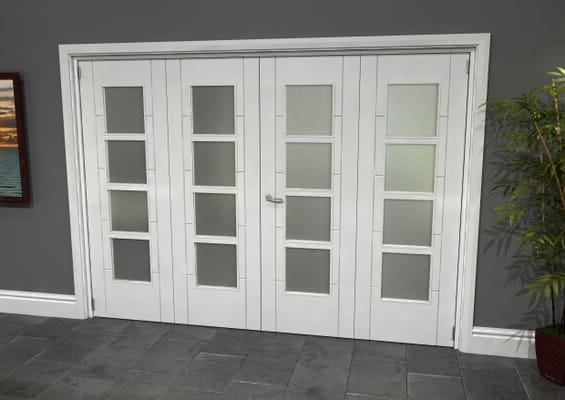 Iseo White 4 Light Frosted 4 Door Roomfold Grande (2 + 2 x 686mm Doors)
