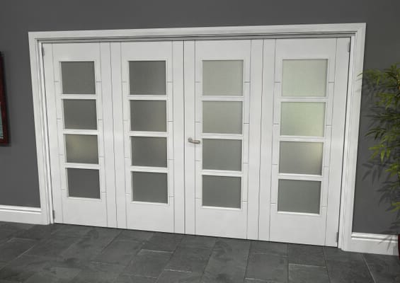 Iseo White 4 Light Frosted 4 Door Roomfold Grande (2 + 2 x 762mm Doors)